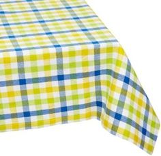Amazon.com: Mahogany Brunch Blue and Yellow Check Tablecloth, 60 by 90-Inch Rectangle, 100-Percent Cotton: Home & Kitchen