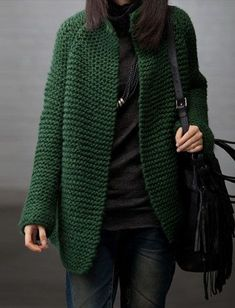 Large size wool thickened sweater coat/Plus size long knitted sweater/knitwear Sporty Chic Outfits, Sporty Style, Casual Outfits, Sporty Fashion, Mod Fashion, Knit Jacket, Knit Cardigan, Sweater Coats, Sweaters