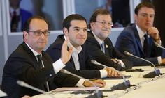 epa04814430 French President Francois Hollande (L-R), Greek Prime Minister Alexis Tsipras, Spanish Prime Minister Mariano Rajoy, and Estonian Prime Minister Taavi Roivas sit at the Table of Negotiation at the EU Council headquarters in Brussels, Belgium, 22 June 2015.