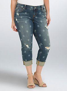 Torrid Cropped Boyfriend Jeans - Medium Wash with Star Print, BEST FRIEND