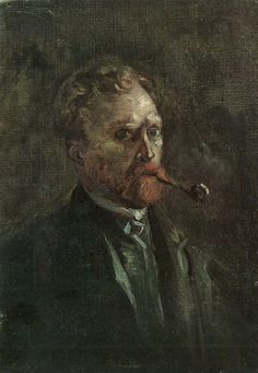 """https://www.facebook.com/VincentvanGogh.MiaFeigelson.Gallery """"Self-Portrait with pipe"""" (Paris. Spring, 1886) [F 208] By Vincent van Gogh, from Zundert, Netherlands (1853 - 1890) - oil on canvas; 27 x 19 cm - Place of creation: Paris  © Van Gogh Museum, Amsterdam  http://www.vangoghmuseum.nl/"""