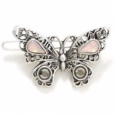 1928 Company Silver Tone Butterfly Pink and Black Diamond Hues Mini Barrette * Want to know more, click on the image. #hairtreatment