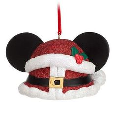 Disney Parks Exclusive Mickey Mouse Ear Hat Santa Claus Red Glitter Christmas Ornament: Santa Mickey delivers a bountiful Holiday sparkler with his cheery ear hat ornament that will give the gift of smiles throughout the season! Disney Ears Hat, Mickey Mouse Ears Hat, Disney Mickey Mouse, Disney Christmas Ornaments, Mickey Christmas, Christmas Ideas, Christmas Crafts, Christmas Decorations, Peanuts Christmas