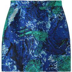 Proenza Schouler Painted Jacquard Mini Skirt ($400) ❤ liked on Polyvore featuring skirts, mini skirts, bottoms, faldas, saias, patterned skirts, high waisted skirts, blue print skirt, print mini skirt and patterned mini skirt