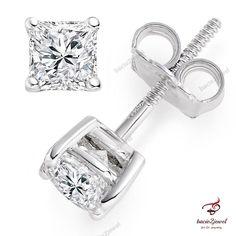 2 ct Princess Cut Solitaire Stud Earrings Lab Diamond 14k White Gold Screw Back #bacio2jewel #Stud