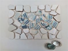 White Genuine Sea Pottery, Tiles 60 pieces Dec 30, Sea Shells, Art Projects, Tiles, Mosaic, Blue And White, Pottery, Artist, Crafts