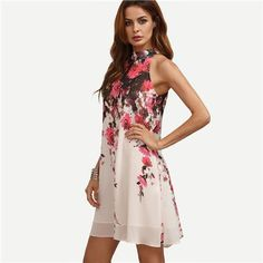 3a9b2253ce0f6 SheIn Summer Short Dresses Casual Womens New Arrival Multicolor Round Neck  Floral Cut Out Sleeveless Shift Dress