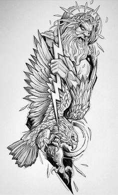 Dad Tattoos, Best Sleeve Tattoos, Badass Tattoos, Tattoo Sleeve Designs, Tattoo Designs Men, Body Art Tattoos, Tattoo Thor, Hades Tattoo, Zeus Tattoo
