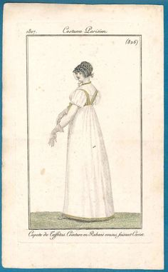Regency print 1807 Costume Parisien bonnet gloves
