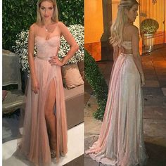 Spaghetti Straps Two Pieces Vintage With Slip Side Cocktail Evening Long Prom Dresses M1083