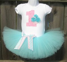 Baby's First Birthday Aqua and Pink Cupcake Onesie with by Zobows, $38.00