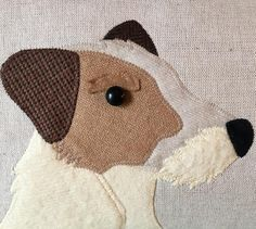 Handmade design on natural linen with mixed British tweeds and vintage wool.  This is my dear girl Orla and the Seaforth muse! Orla is a Parsons Jack Russell an