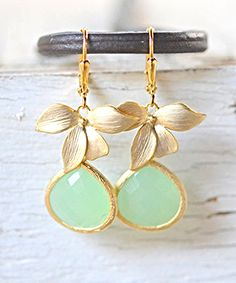 Mint Bridesmaids Earrings. Mint and Gold Orchid Drop Earrimgs. Wedding Jewelry. Bridal Party Gifts. Mint Wedding.