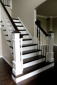 A staircase is an important part of a house. It helps the inhabitants of the house to access other parts … Staircase Railings, Staircase Design, Banisters, Staircase Ideas, Painted Staircases, Stair Case Railing Ideas, Black Banister, White Staircase, Entryway Stairs