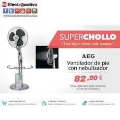 ¡La mejor opción para refrescarse este verano! Esta semana #Superchollo Ventilador AEG VL 5569 https://www.electroactiva.com/aeg-ventilador-de-agua-vl5569-lb.html #Elmejorprecio #Chollo #Ventilador #Electrodomestico