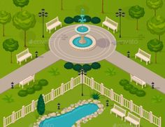 Fragment Of City Park Landscape by macrovector Fragment of city park landscape with walking path fountain trees and benches isometric vector illustration. Editable EPS and Rende