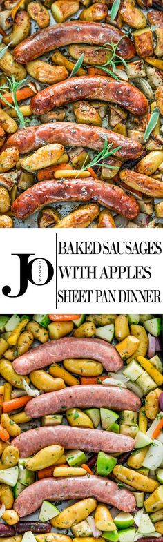Baked Sausages with Apples Sheet Pan Dinner - these pork sausages are perfectly baked together with apples, fingerling potatoes, baby carrots and lots of fresh herbs, all in one pan making it super ea