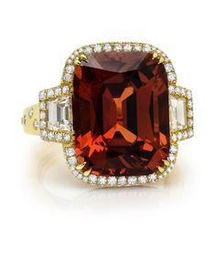 15.71 carat Cushion-Cut Spessartite Garnet Ring