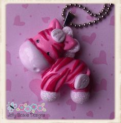 *POLYMER CLAY ~ Zebra Glam Polymer Clay Pendant Necklace