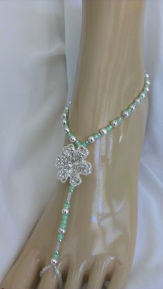 Barefoot Wedding Sandals with Mint Green Glass Beads by IslandToes, $30.00