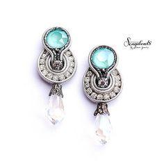 Mint green and silver gray soutache earrings. Swarovski