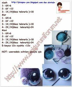 Amigurumi Eyes - Tutorial  X = single crochet  V = double crochet