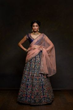 Inspired from the colourful stone inlay and pillar carvings of Century European architecture the Rangeen Nakshi lehenga has been embroidered with intricate resham that is overlaid with shimmering sequins and aari. Party Wear Lehenga, Bridal Lehenga Choli, Indian Lehenga, Indian Gowns, Indian Wear, Lehenga Skirt, Lehenga Style, Anarkali, Bollywood Lehenga