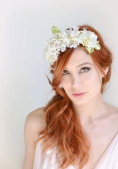 Bridal crown vintage floral crown ivory flower by gardensofwhimsy