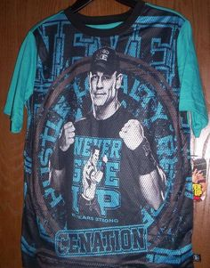 WWE s/s John CENA Black/Blue Shirt Boy's 14/16 NeW Never Give UP Cenation NWT #WWE #Everyday