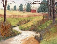 """Leiper's Fork Country by Tommy Thompson ~ 11 x 14 Oil , Private Collection. After visiting a farm on Bailey Road in Leiper's Fork village, near Franklin, TN, I painted the oil original, """"Leiper's Fork Country."""" Leiper's Fork is one of my favorite places to paint."""