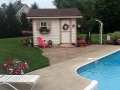 Our beautiful pool shed Towel Rack Pool, Pool Towels, Pool Shed, She Sheds, Beautiful Pools, Pool Ideas, Acre, Gardens, Decorating