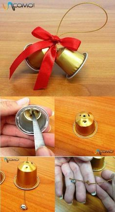 How to make Christmas bells with Nespresso capsules - Basteln - noel K Cup Crafts, Diy And Crafts, Christmas Crafts, Christmas Bells, Christmas Art, Christmas Ornaments, Decoracion Navidad Diy, Diy For Kids, Crafts For Kids