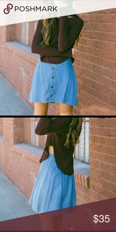 Chambry buttoned up skirt! Soft, comfortably fitted, adorable with boots! True to size. :) Sadie & Sage Skirts Mini