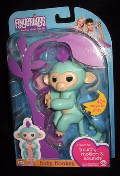 Fingerlings WowWee 100% Authentic Zoe Turquoise with Purple Hair Baby Monkey #WowWee