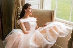 Tea length organza and tulle dress with collar. Simple Wedding Gowns, Simple Weddings, Tea Length Bridesmaid Dresses, Collar Dress, Tulle Dress, Elegant Dresses, Communion, Awards, Ballet Skirt