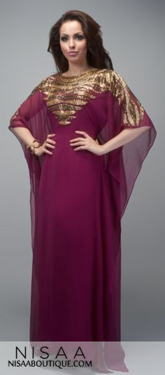 Maroon Magnetic Waves - The gorgeous maroon colour shows off the vintage golden bronze waves on this dress. The carefully crafted detail of the sequin are hand sewn to perfection covering the neck, bust down to the 3/4 length sleeves. The dress also features extended sequin on the back. The dress is fully lined. It comes with a inner layer belt which can be adjusted according to individual size. Length from neckline to hem is between 60-65 inches Maroon Colour, Gorgeous Fabrics, Kaftans, American Women, Fashion Outfits, Womens Fashion, Hand Sewn, Pretty Dresses, Beautiful Outfits