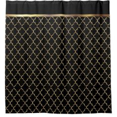 Elegant Black and Gold Quatrefoil Patterns Shower Curtain