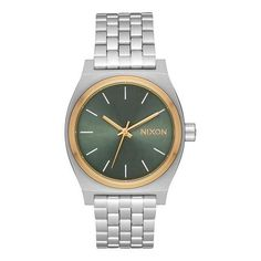 Nixon Medium Time Teller Silver/Gold/Agave  $100
