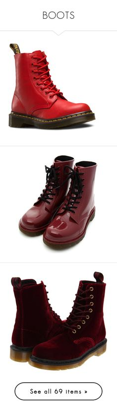 """""""BOOTS"""" by teenage-girl-documentary on Polyvore featuring shoes, boots, ankle booties, red, buffalo blood, leather booties, red leather ankle booties, bootie boots, red boots and leather ankle boots"""