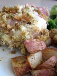 Crock Pot Chicken Cordon Bleu...50% of my family loved this.  I was not one of them.  Should have made the casserole version without the stuffing on top.