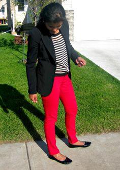red pants + stripes