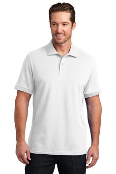 District Made Men's Stretch Pique Polo. DM325