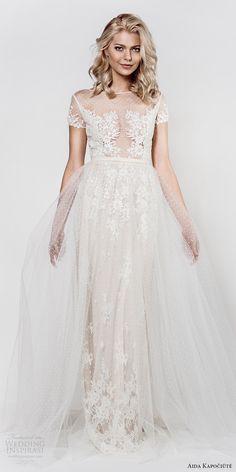 aida kapociute 2017 bridal illusion short sleeves bateau neck sheer lace bodice sheath a line overskirt (14) mv -- Aida Kapociute 2017 Wedding Dresses