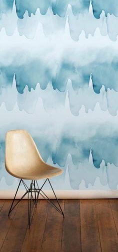 Emma Hayes Wallpaper, Tidal, River and Undertow prints Moody Wallpaper, Bathroom Wallpaper, Watercolor Wave, Watercolor Wallpaper, Paper Fire, Paper Supplies, Blue Wallpapers, Interior Barn Doors, Designer Wallpaper