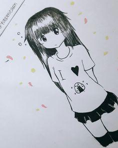 Dibujo entintado con microfibra 0.1 (es mío) #anime #kawaii #moe #loli #arteoriginal