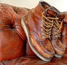 Under my skin Wedge Boots, Shoe Boots, Leather Men, Leather Boots, Red Wing Moc Toe, Red Wing Boots, Mens Boots Fashion, Rugged Style, Shoe Collection