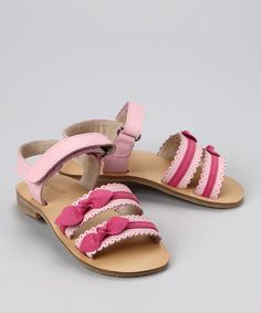 Take a look at this Pink Double Bow Sandal by LAmour Shoes on #zulily today!