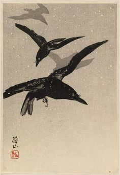 'Crows Flying in Snowstorm' . Woodblock print by Itô Sôzan ( Japanese, born 1884, active 1919–26).