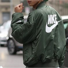 Army green Nike bomber jacket