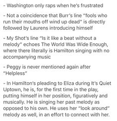 These aren't facts, these are things that people who've actually listened to the soundtrack know instinctively <— Whoever wrote this is an actual idiot and I appreciate the facts listed in this ^ - ^ Alexander Hamilton, Hamilton Lin Manuel Miranda, Hamilton Peggy, Hamilton Musical, Hamilton Broadway, Hamilton Fanart, Aaron Burr, Fandoms, What Is Your Name